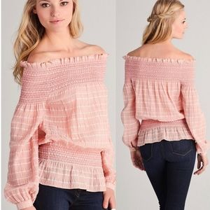 Tory Burch Smocked Off The Shoulder Blouse
